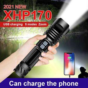 1100000 LM XHP170 Más potente LED Flashlight Antorcha XHP90 XHP70 Linterna Táctica USB Caza Recargable Linterna Lámpara de trabajo 210322