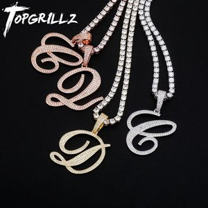 TOPGRILLZ New A-Z Bigger Size Cursive Letters Name Pendant Iced Out Cubic Zirconia Hip Hop Fashion Charm Jewelry For Gift 210323