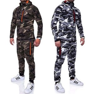 Mens Camouflage Jacket Sets Printed 2Pcs Sportwear Male Tracksuits Top Pants Suits Hoodie Outdoors Coat Trousers
