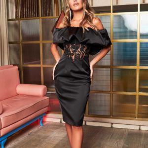 Curta bainha elegante vestidos de baile fora do ombro camisa de comprimento mangas vestido de noite cintura de renda feitos sob encomenda vestidos de cocktails