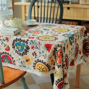 Table Cloth 32 Cotton Linen Tablecloths Rectangle Sunflower Printing With Lace Dustproof Covers For Wedding Home