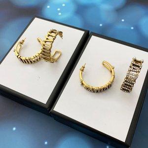 Роскошный дизайнер ювелирные изделия мода женские ушные гвоздики Hoop 18K позолоченные буквы кристалл жемчуга кубические серьги циркония падение болтается свадьба с оригинальной коробкой