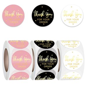 Round Thank You for Your Order Sticker Roll Envelope Sealing Labels 500pcs 1inch Black Pink Transparent 122841