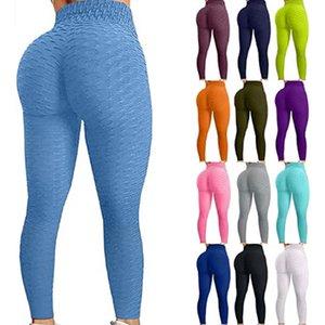 Pantalones de yoga famosos Tiktok Pantalones de yoga para mujeres de cintura alta Control de la barriga botín burbuja cadera levantamiento de elevación