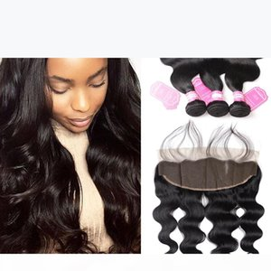 Indian Human Hair Body Wave 3 Bundles With 13x4 Ear To Ear Lace Frontal Closure Virgin Hair Extensions