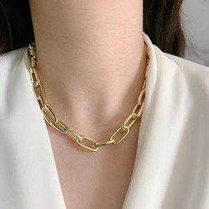 Mode Gold Farbe Kette Schicht Anhänger Kurzer Halskette Einstellbares Choker für Frauen Punk Street Wear Schmuck Chokers