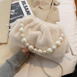 Elegant Female Pearl Tote bag 2021 Fashion New High quality Soft Plush Women's Designer Handbag Pleated Shoulder Messenger Bag