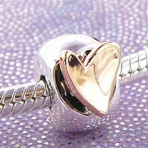 2020 S925 Sterling Silver Rose Freehand Heart Clip Charm Bead Fits European Pandora Jewelry Bracelets Necklaces & Pendants