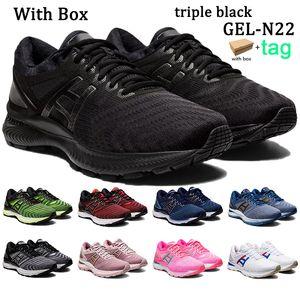 Kutu Erkek Kadınlar Jel-N22 Koşu Ayakkabıları Gri İpler Peacoat Pembe Saf Gümüş Gül Altın Güvenlik Sarı Siyah Erkek Sneakers Eğitmenler
