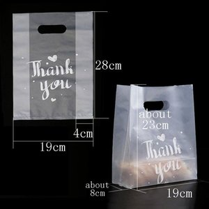 New Thank You Plastic Gift Bag Bread Storage Shopping Bag with Handle Party Wedding Plastic Candy Cake Wrapping Bags WB2177