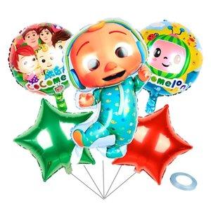 6 pcs definir acessórios dos desenhos animados Cocomelon ji alumínio filme balloons seis peças conjuntos de dupla face coco melão festa decorativa balão g38qlfx