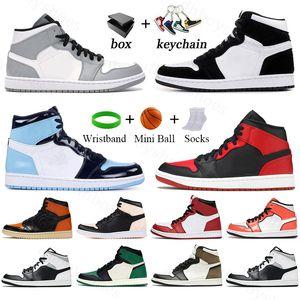 Jumpman 1 1s Basketball Shoes for men women sport dark mocha light smoke grey UNC classic outdoor jogging sneaker mens Trainers With Box