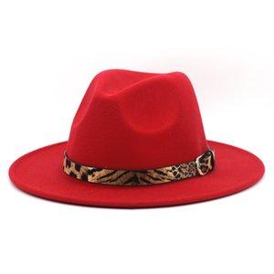 ليوبارد شعرت فيدورا قبعة واسعة بريم كاب الرجال النساء الجاز بنما قبعات الرسمية القبعات السيدات امرأة الفتيات تريلبي تشافت شتاء ازياء اكسسوارات 22 ألوان