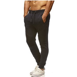 2021 Autumn And Winter New European And American Men's Fitness Slim Sports Pants Striped Fold Stitching Casual Trousers Men