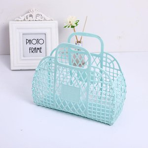 Storage Baskets Plastic Portable Bath Basket Hollow Jelly Beach Vacation Large-Capacity Bag Female Purses Handbags Reusable And Easy To Clea