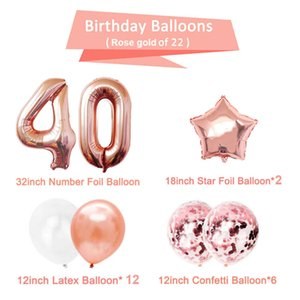 confetti 40th Happy Balloons Number 40 Years Old Birthday Party Decorations Adult Forty Man Woman Anniversary Rose Gold Black