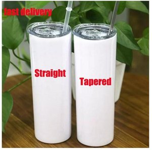 Tasses de sublimation effilées et droites de 20 oz Gobelet skinny 20 oz en acier inoxydable bouteille d'eau de cylindre avec couvercles de paille en métal