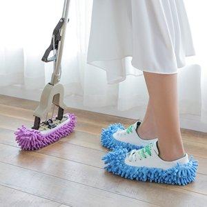 Zapatillas de la casa Cubierta de zapatos Mop Zapatillas de polvo macizo multifuncional Casa de baño Cubierta de zapato de piso Limpieza de zapatillas de chenilla 306 R2