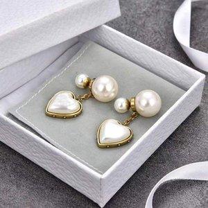 Luxury Stud women Earrings Brands pearl heart letters Ear men Earring Gold Silver Jewelry Accessories Good quality fashion Gift for Girls in Box