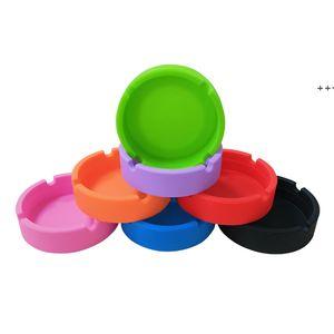 Colorful Eco-Friendly Premium Round Silicone Ashtray Portable Anti-scalding Cigarette Holder High Temperature Heat Resistant NHD8843