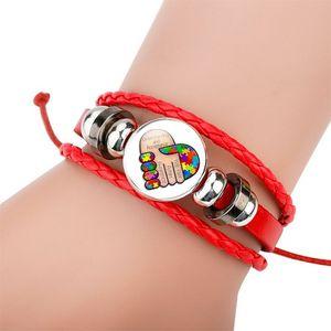 Glass Cabochon Bracelet Autism Weave adjustable Multilayer Wrap bracelets charm fashion jewelry will and sandy