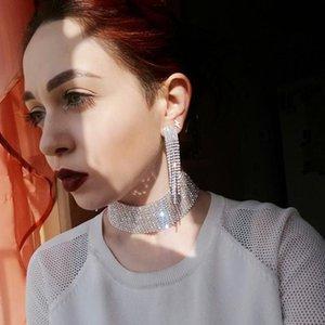 Earrings & Necklace Classic Elegant Silver Color Copper Tassel Crystal Bridal Fashion Jewelry Sets African Rhinestone Wedding