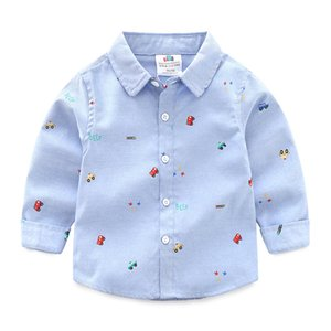 2021 Spring Autumn 2 3 4 6 8 10 Years New Long Sleeve Car Pattern Full Print Handsome White Gray Shirt For Cotton Kids Baby Boys