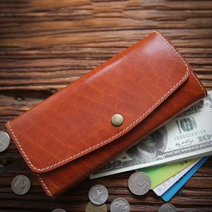 Handmade For Long With Coin Men Women Purse 100% Phone Clutch Leather Vintage Wallet Card Holder Zipper Bag Pocket Genuine Wallets Xwasl