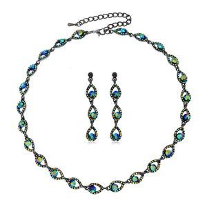 Collares colgantes Collar de joyería nupcial Pendiente Pendiente Conjunto de vestidos de boda Accesorios Temperamento Temperamento Fin de altura