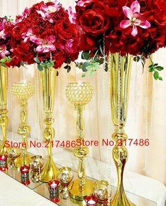 Parti Dekorasyon Düğün Çiçek Vazo Metal Standı Altın Sütun Zarif Masa Centerpiece