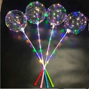 Yanıp Sönen Işık LED Bobo Topu Flaş Balonlar Yıldız Unicorn Kalp Aşk Noel Ağacı Şekli Şeffaf Temizle Düğün Parti Balon ile Sopa Kolu Bahçe Dekor LY6803