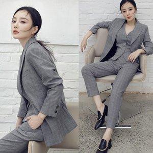 Coréen vintage élégant femme plaid 3 pièces Set de bureau Dame Blu Britannique Blazer Suit Pant Gilet Ensembles 2021 Spring Automne Y217 Femme Two Tarceau