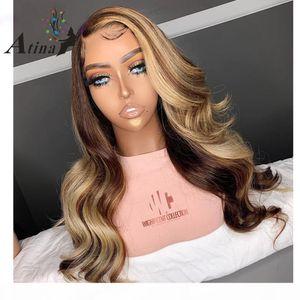 Brown Honey Blonde Highlight Perücke 13x6 Spitze Front Front Menschliches Haar Perücken Körperwelle Atina Full 360 Spitze Frontal Perücke Remy HD Verschluss