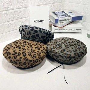 Women's Hat Nette Barett Vintage Hüte für Frauen Leopard Filz Hut Beanie Woolen Herbst Hut 2020 Schatten Frauen Barett mit Visier warm