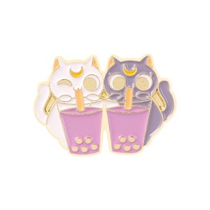 Couple Luna Cats Enamel Brooches Cartoon Cute Fun Pins Bades for Denim Clothes Bag Kawaii Jewelry Christmas New Year Gift Kids Friends
