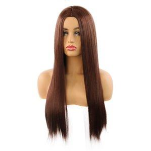 Человеческие волосы парики европейские и американские моды средняя точка женский длинный дизайн прямой стиль, многоцветный дополнительный пятно
