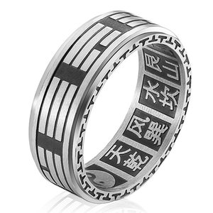 Stainless Men's Titanium Steel Can Be Rotated to Transfer Chinese Style Taoist Eight Trigrams Taiji Yin Yang Fish Ring