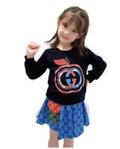 Designer Kids apple letter printed sets children long sleeve sweatshirt+letter pleated skirts 2pcs girls princess outfits A7835