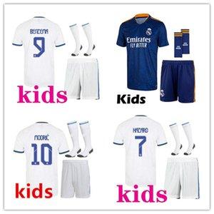 어린이 2021 2022 레알 마드리드 축구 유니폼 축구 키트 21/22 Camiseta de Futbol 위험 벤제마 ISCO Modric Kids Footbal Kits