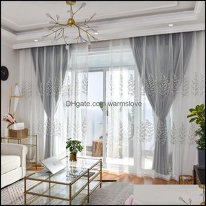 Drapes Deco El Supplies Home & Gardengrey White Curtains Living Room Embroidered Luxurious Curtain For Kitchen Bedroom Simple Tle Sheer Wind