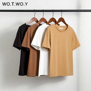 Wotwoy сплошной повседневная базовая футболка женщины 2020 летних с коротким рукавом вязаные хлопчатобумажные футболки женские черные белые корейский топ Femme новый T200716