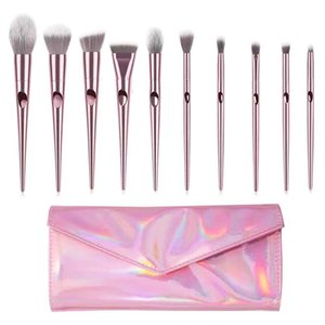 Pink Makeup Brushes 10pcs set Cosmetics Tools Foundation Blusher Soft Synthetic Hair Make Up Brushes Kits With Laser PU Case