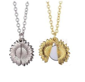 Сублимационные пустые подсолнечники кулон ожерелье теплопередача круглая партия украшения ожерелья DIY Valentine's Day подарок