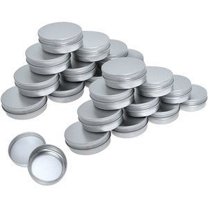 100Pcs 5g 10g 15g 20g 30g 50g 60g Empty Silver Metal Aluminum Tins Cans Screw Top Round Candle Spice Face Cream Boxes Containers