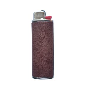 Cool PU Skin Leather Lighter Case Sleeve Cigarette Smoking Portable Metal Protective Shell Innovative Design High Quality Holder DHL Free