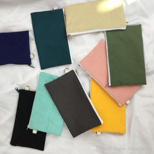 Coloful blank canvas zipper Pencil cases pen pouches cotton cosmetic Bags makeup bags Mobile phone clutch bag organizer DH4788