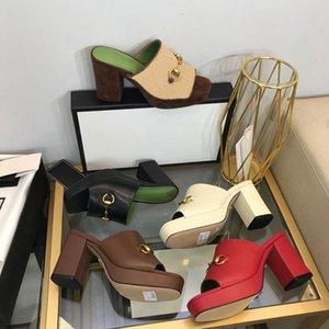 8.5cmluxury высокие каблуки тапочки кожаные сандалии замшевые H-каблуки женские дизайнерские сандалии летний пляж сексуальные свадебные туфли размером 35-42 с коробкой