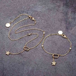 Luxury Brand Bracelet Designer women Necklaces fashion jewelry sets star pendant with letter Stamps Brass Beads chain fo