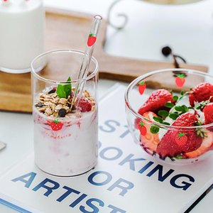 Wine Glasses 300ml Strawberry Cute Glass Cup With Straw Creative Transparent Water Student Milk Heat Resistant Nana
