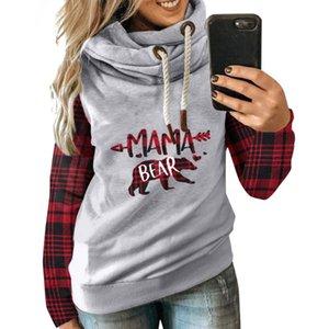 Sweatshirt das mulheres Mama Bear Cor Blocos Com Capuz Manga Longa Elegante NYZ Shop Com Capuz